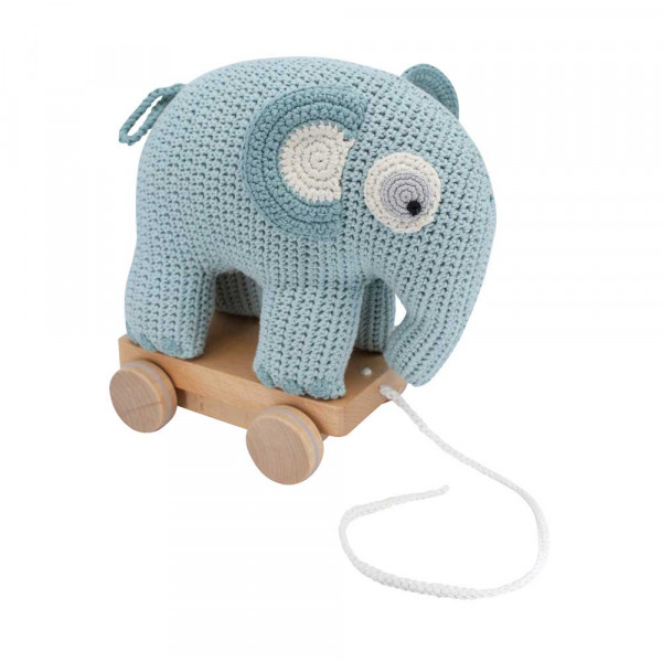 Sebra Häkel Nachziehtier Elefant hellblau