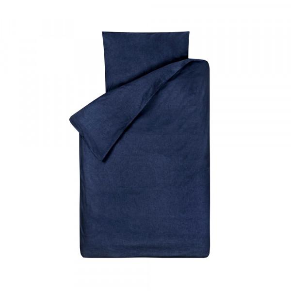 Bink Kinderbettwäsche Bo uni jeansblau 100 x 135