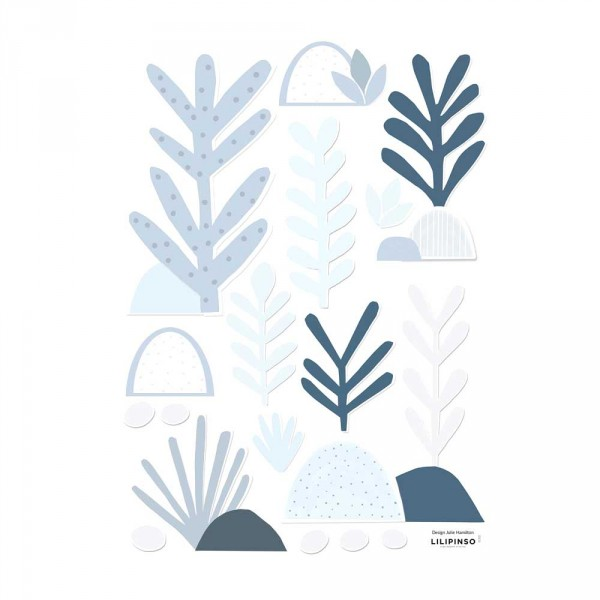 Lilipinso Wandsticker A3 Blätter hellblau grau