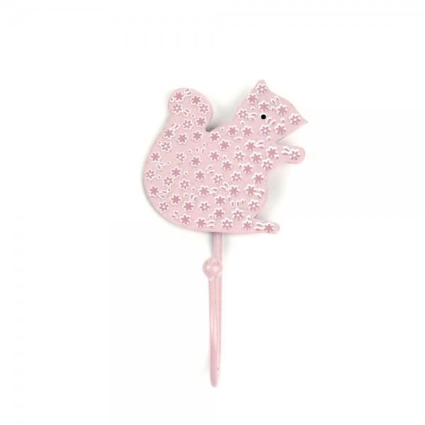 Knaufmanufaktur Kleiderhaken Eichhörnchen Blumen rosa