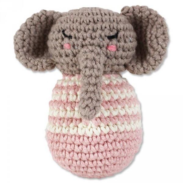Ava & Yves Häkel Babyrassel Elefant rosa