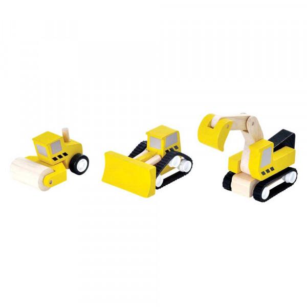 Plan Toys Spielzeug Baufahrzeuge-Set Holz