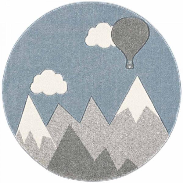 Scandic Living Kinderteppich rund Berge & Ballon grau