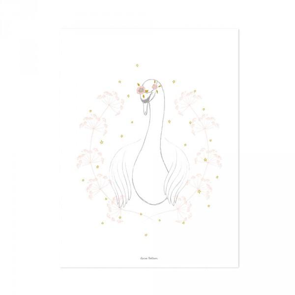 Lilipinso Poster Schwan mit Blüten grau rosa