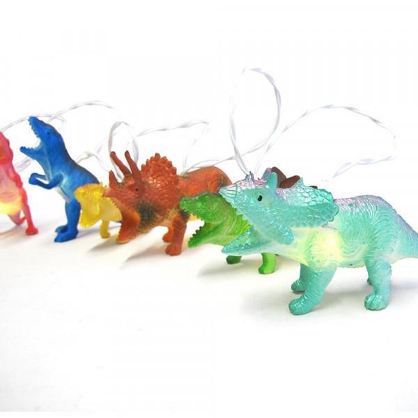 Lichterkette Dinosaurier bunt