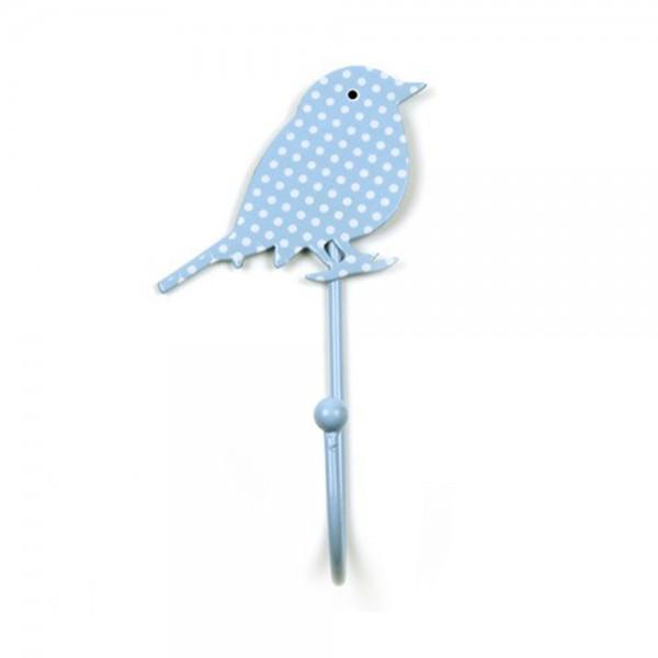 Knaufmanufaktur Kleiderhaken Vogel hellblau Punkte weiss