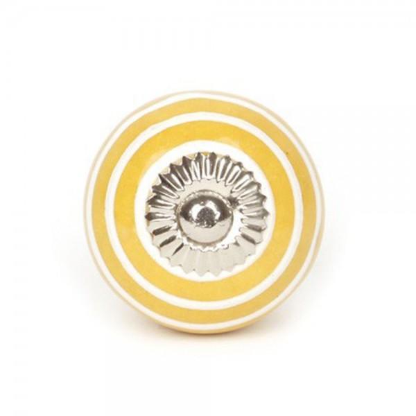 Knaufmanufaktur Möbelknauf Keramik gelb Streifen weiss