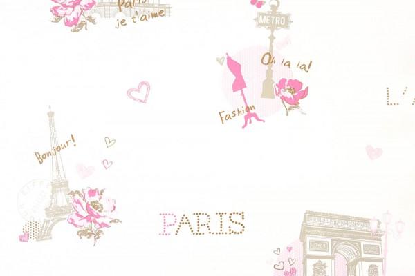 Caselio Girls only Mädchentapete Paris rosa gold