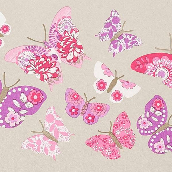 Caselio Girls only Bordüre grau Schmetterlinge