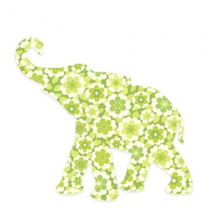 Inke Babyelefant Blumen grün