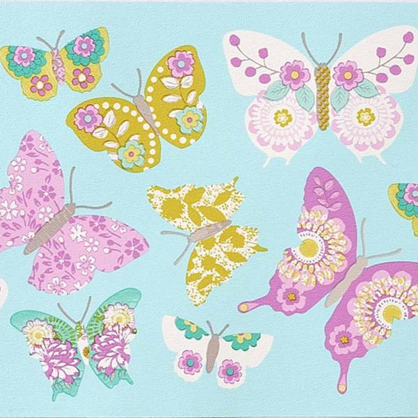 Caselio Girls only Bordüre türkis Schmetterlinge