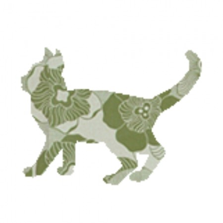 Inke Tapetentier Katze Ranke oliv