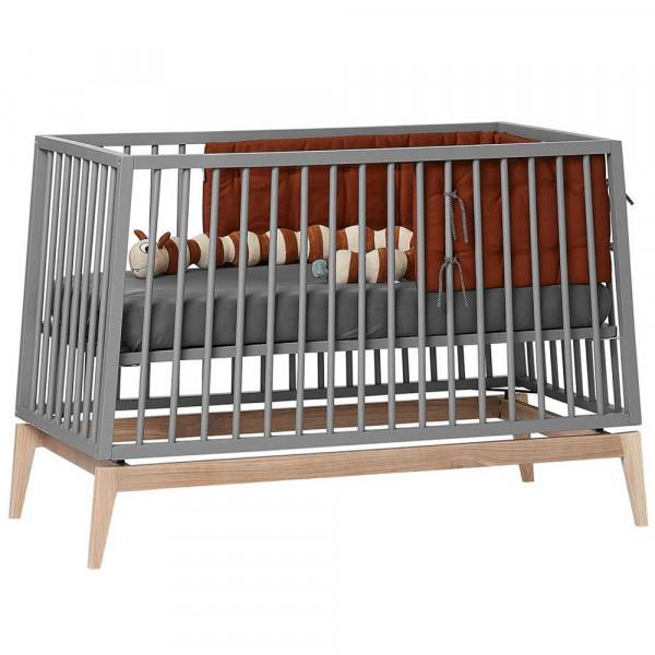 Leander Babybett Luna grau / Eiche 120x60