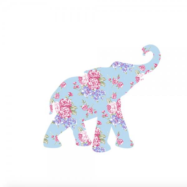 Inke Tapetentier Babyelefant Rosen hellblau pink