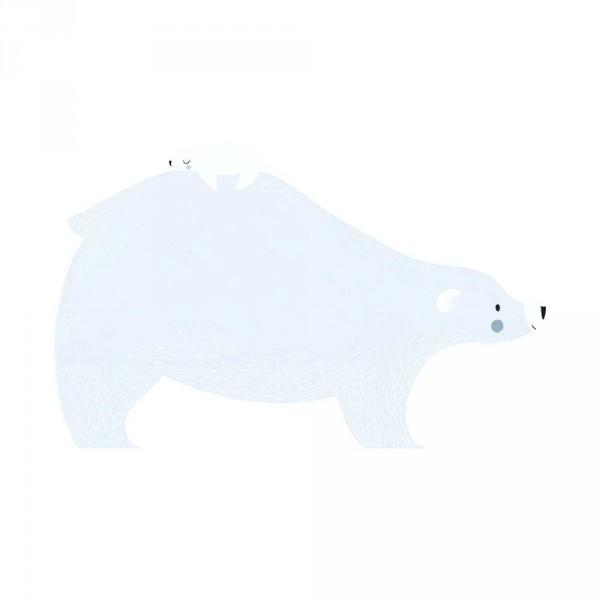 Lilipinso Wandsticker XL Eisbär mit Eisbärbaby hellblau