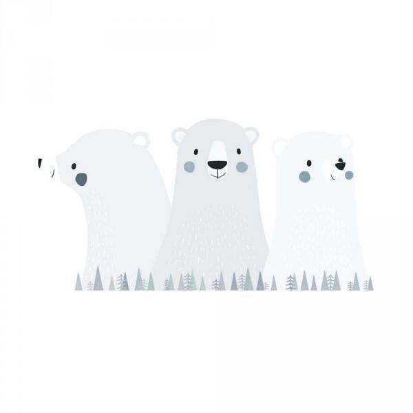 Lilipinso Wandsticker XL Drei Eisbären grau
