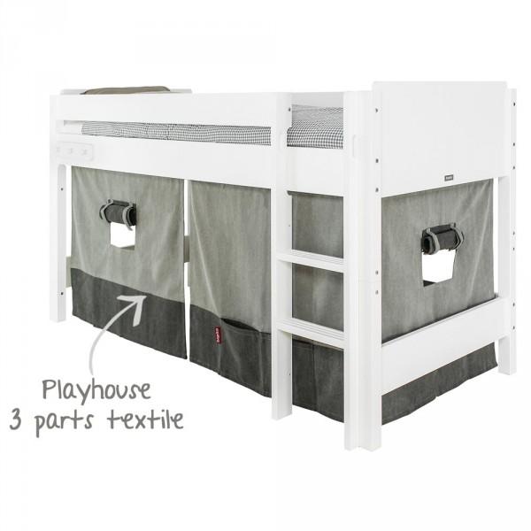 Bopita Nordic Vorhang für halbhohes Bett grau