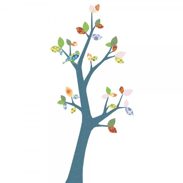 Inke Tapetenbaum 3 Stamm dunkelblau Blätter grün rosa rot