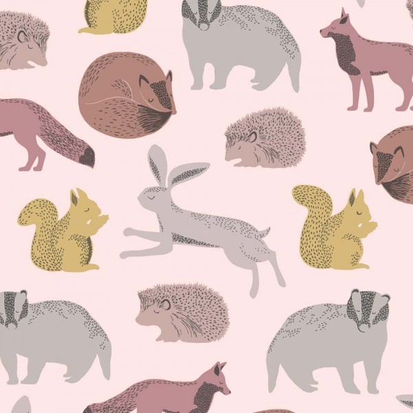 Eijffinger Mini Me Tapete Waldtiere grau rosa senfgelb