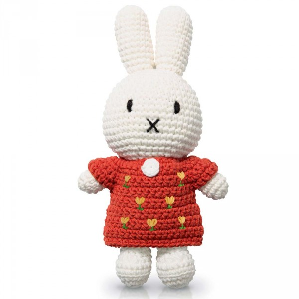 Just Dutch Miffy Häkelpuppe Hase Tulpen Kleid rot