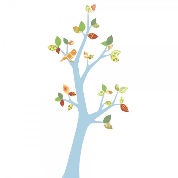 Inke Tapetenbaum 3 Stamm hellblau Blätter grün rot