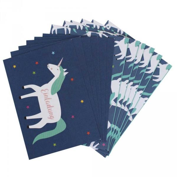 Ava & Yves Einladungskarten Kindergeburtstag Einhorn