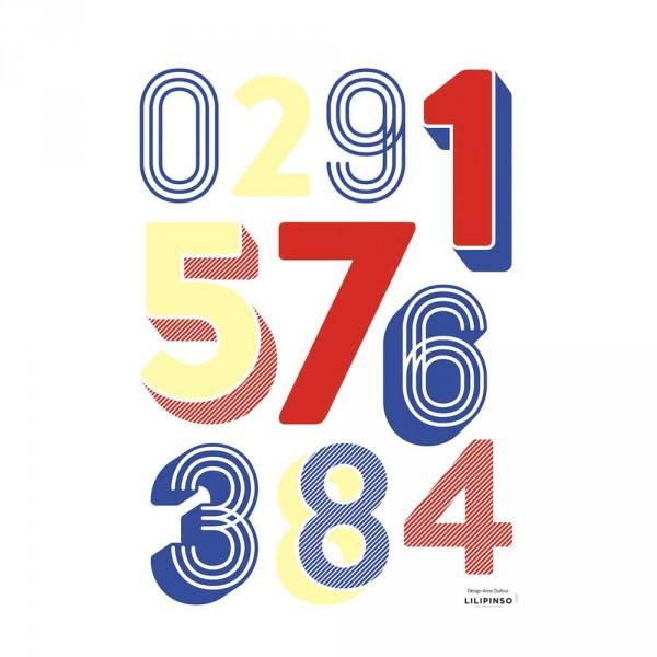 Lilipinso Wandsticker A3 Zahlen 0 bis 9 blau rot gelb