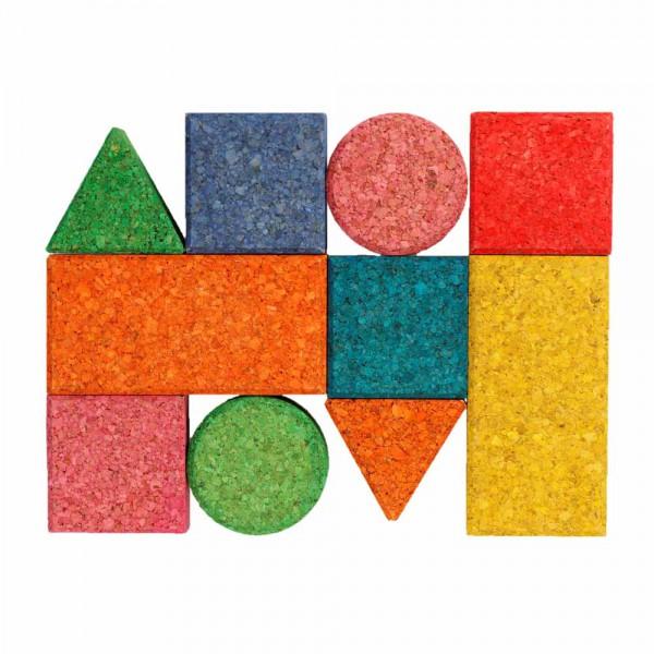 Korxx 10 Kork Bauklötze Baby Set farbig