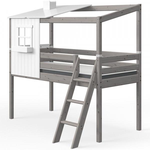 Flexa halbhohes Bett Haus mit halbem Dach weiss grau