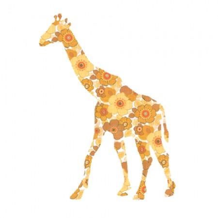 Inke Tapetentier Giraffe Ranke orange