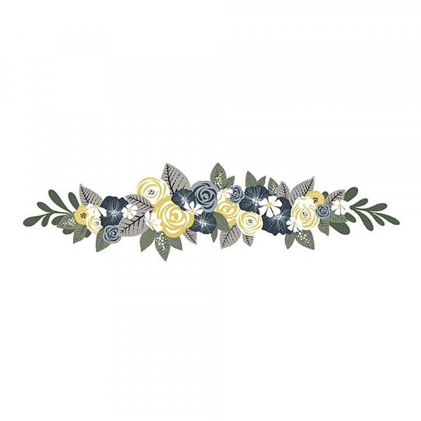 Lilipinso Wandsticker Blumengesteck senf grün grau