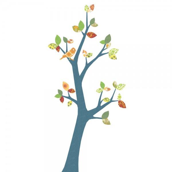 Inke Tapetenbaum 3 Stamm dunkelblau Blätter grün rot