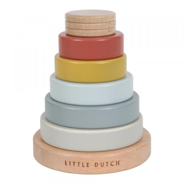 Little Dutch Ringpyramide / Stapelturm Holz naturfarben