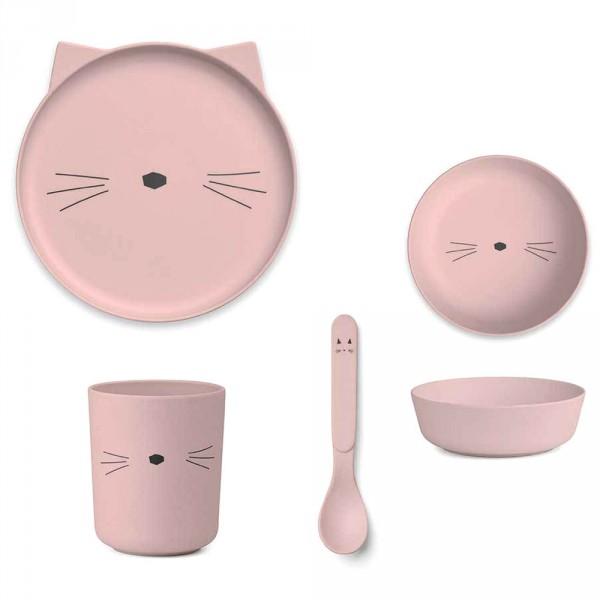 Liewood Bambus Kindergeschirr Set Katze rosa