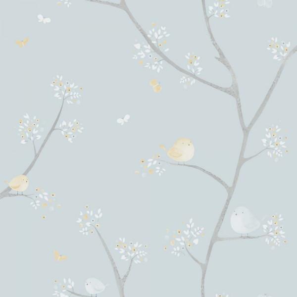 Casadeco My Little World Tapete Vögelchen blau braun grau