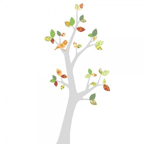 Inke Tapetenbaum 3 Stamm silber Bätter grün rot