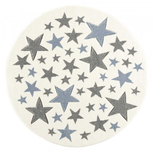Livone Teppich Stella Sterne blau grau rund
