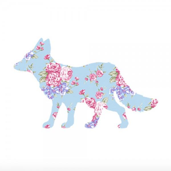 Inke Tapetentier Fuchs Rosen hellblau pink