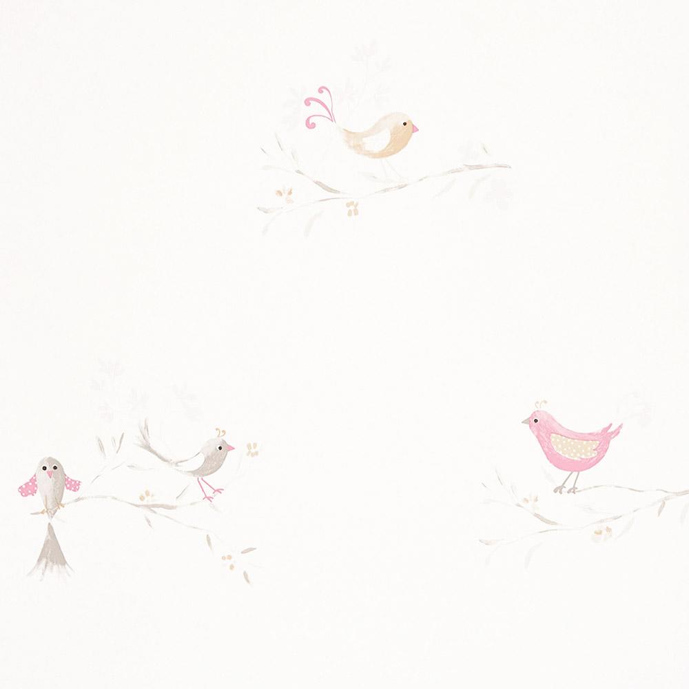 casadeco douce nuit tapete romantische v gel rosa grau bei kinder r ume. Black Bedroom Furniture Sets. Home Design Ideas