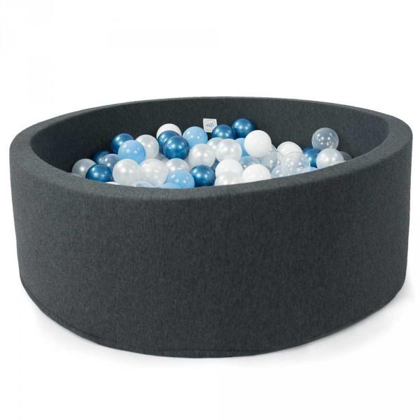 Minibe Bällebad dunkelgrau incl. 250 Bällen in Wunschfarbe