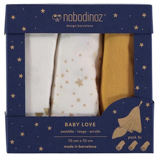 "Nobodinoz Baby Mulltuch ""Love"" Box Farniente gelb"