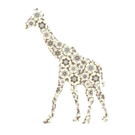 Inke Tapetentier Giraffe Blumen braun