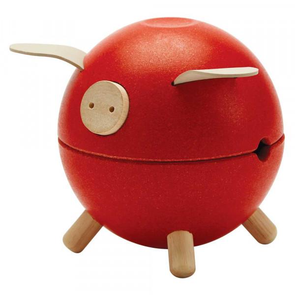 Plan Toys Sparschwein Holz rot