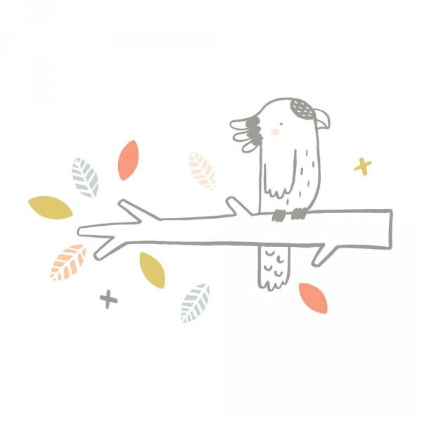 Lilipinso Wandsticker XL Kleiner Kakadu auf Ast grau grün koralle