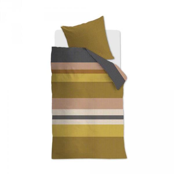 Beddinghouse Kinderbettwäsche Grid Stripe karierte Streifen gold rosa 135 x 200