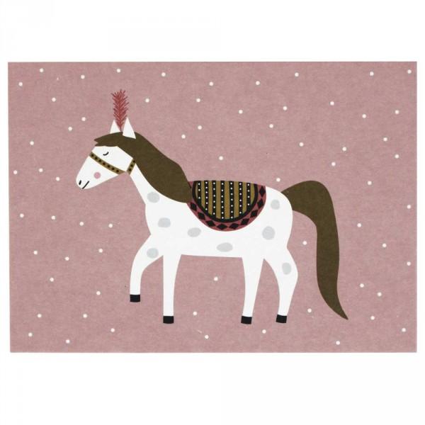 Ava & Yves Postkarte Zirkuspferd rosa