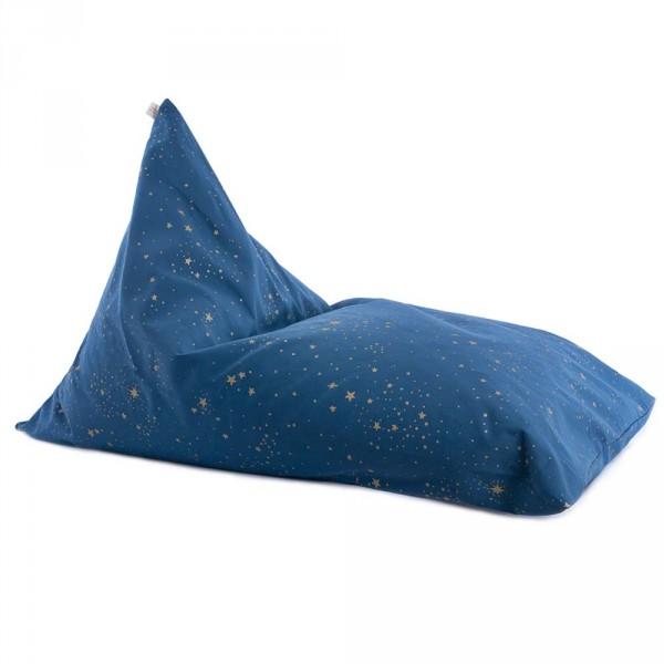 """Nobodinoz Sitzsack / Sitzkissen """"Essaouira"""" goldene Sterne blau"""