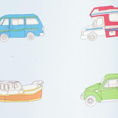 Harlequin Stoff Autos blau