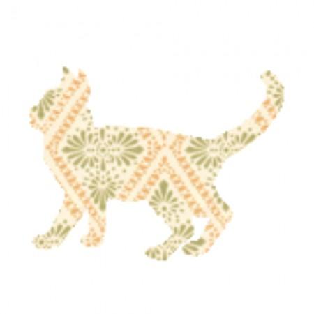 Inke Tapetentier Katze Raute beige