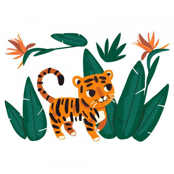 Lilipinso Wandsticker A3 Tiger mit Pflanzen grün orange
